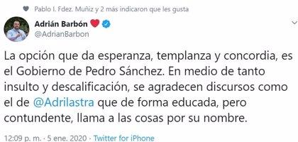Barbón elogia el discurso de Adriana Lastra en la sesión de investidura