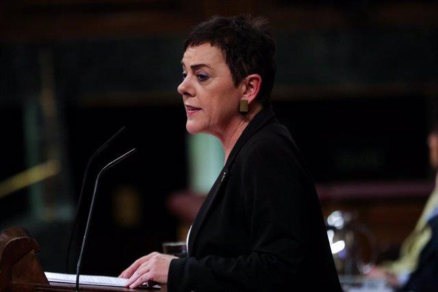 La portaveu d'EH Bildu al Congrés, Mertxe Aizpurua, durant la seva intervenció en la segona sessió del debat d'investidura de Pedro Sánchez a la Presidncia de Govern aquest diumenge 5 de gener del 2020.