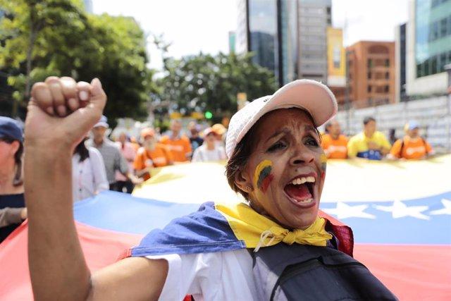 Manifestación de la oposición en Caracas, Venezuela