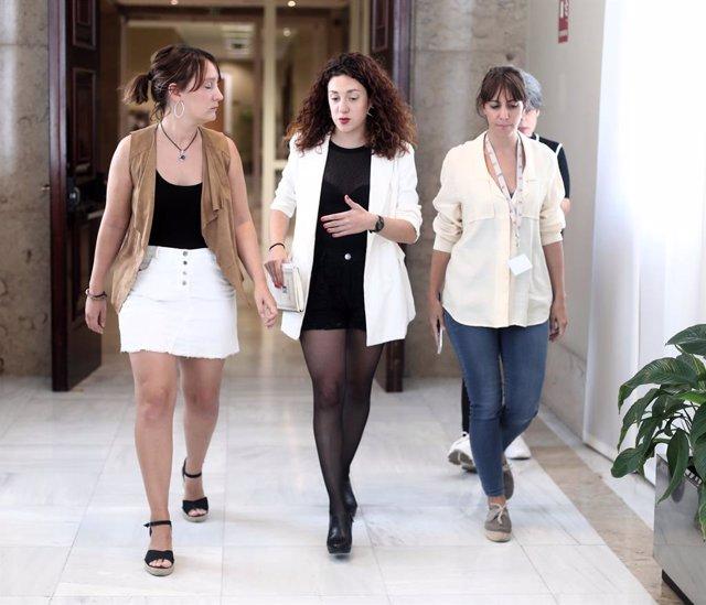 La diputada d'En Comú Podem, Aina Vidal (c), es dirigeix a la Junta de Portaveu del Congrés dels Diputats a Madrid (Espanya), 10 de setembre del 2019.