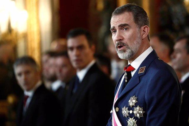 El rey Felipe VI preside la celebración de la Pascua Militar de 2020 en el Palacio Real de Madrid (España) a 6 de enero de 2019.