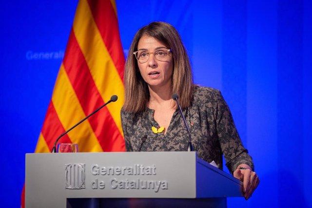 La consellera de Presidencia y portavoz del Govern, Meritxell Budó, en rueda de prensa el 17 de diciembre de 2019.