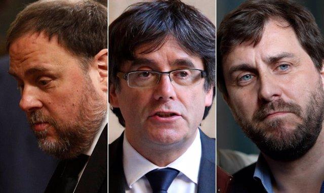 Oriol Junqueras, Carles Puigdemont y Toni Comín