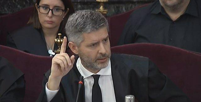 L'advocat de l'ex-vicepresident de la Generalitat Oriol Junqueras, Andreu Van den Eynde, durant el judici pel procés al Tribunal Suprem.