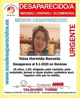 Yaiza Hermida Dacosta, desaparecida la tarde de la Cabalgata de Reyes en Ourense