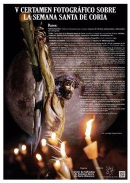 Cartel del V Certamen Fotográfico sobre la Semana Santa de Coria