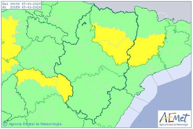 Se mantiene activo el aviso amarillo por nieblas en el centro y sur de la provincia de Huesca este martes.