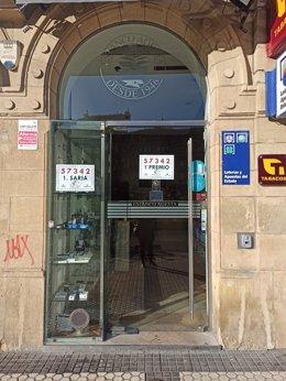 Imagen del punto de venta del primer premio de 'El Niño' en San Sebastián