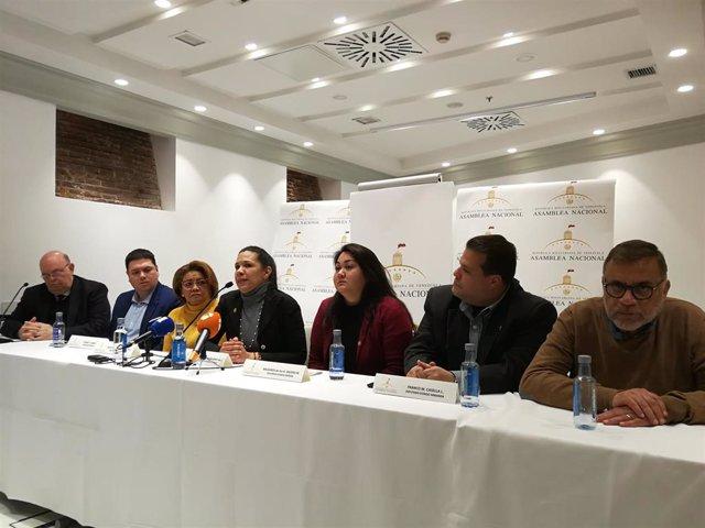 El representante de Guaidó en España, Antonio Ecarri, junto a los diputados Mariella Magallanes (estado de Aragua), Milagros Valero (Mérida), Franco Casella (Miranda), Auristela Vasquez (distrito capital), Rosmit Mantilla (Táchira) y Ramón López.