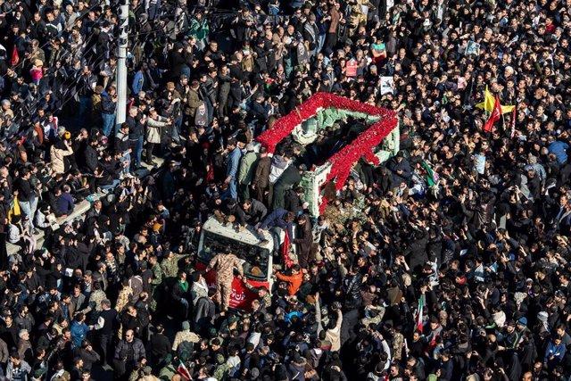 Actos por el funeral del genreal iraní Qasem Soleimani en Teherán.