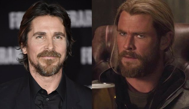 Christian Bale y Chris Hemsworth como Thor