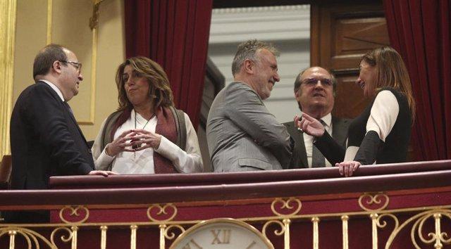 Miquel Iceta, Susana Díaz, Ángel Víctor Torres, Ángel Gabilondo i Francina Armengol