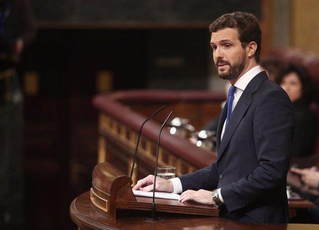 El president del PP, Pablo Casado, durant la seva intervenció en la segona sessió de votació per a la investidura del candidat socialista a la presidència del Govern central, a Madrid (Espanya).
