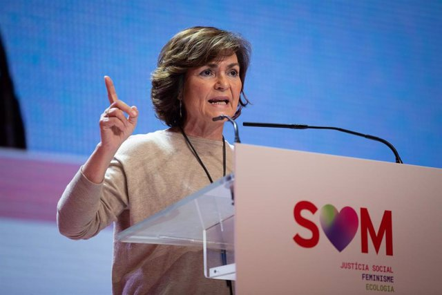 La vicepresidenta del Gobierno en funciones, Carmen Calvo, durante el 14 congreso del PSC en el que se ratifica a Iceta como primer secretario, en Barcelona a 14 de diciembre de 2019