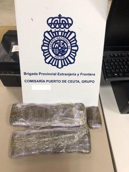Droga intervenida a una mujer de Sevilla en el Puerto de Ceuta