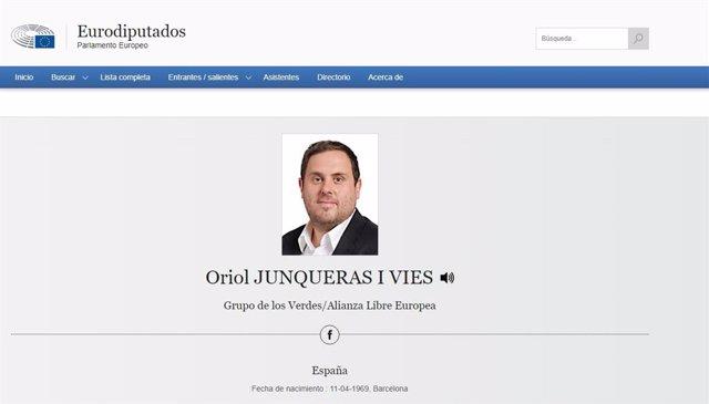 Perfil de l'exvicepresident i líder d'ERC, Oriol Junqueras, a la web del Parlament Europeu (arxiu)