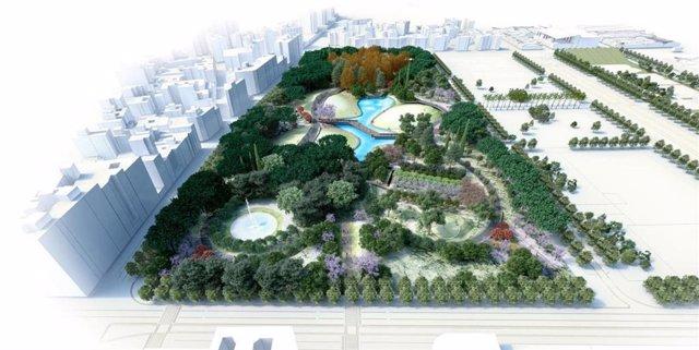 Infografía del futuro parque en los terrenos de Repsol