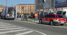 Imagen del accidente en Cordovilla con un motorista herido grave
