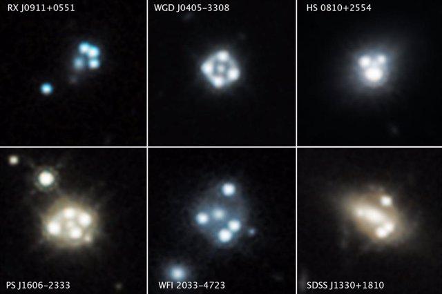 Imágenes distorsionadas de quásares y galaxias anfitrionas utilizadas en la detección de materia oscura