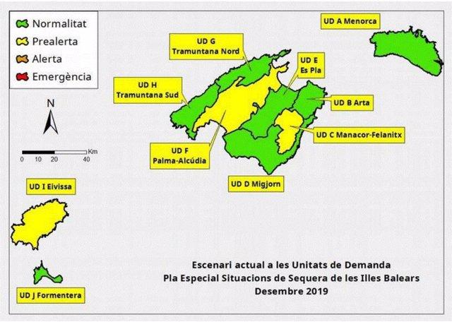 Mapa de alerta de sequía en Baleares.