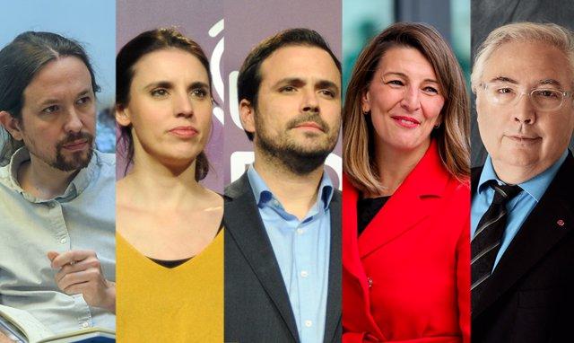Montaje fotógrafico de los ministros de Podemos