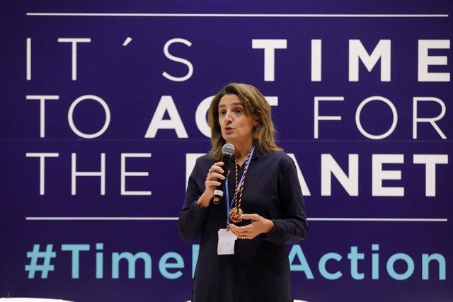 La ministra para la Transición Ecológica en funciones, Teresa Ribera clausura la duodécima jornada de la Cumbre del Clima (COP25) en Ifema, Madrid (España), a 13 de diciembre de 2019.