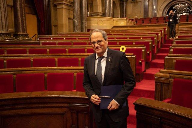 El president de la Generalitat, Quim Torra, durant el ple extraordinari al Parlament de Catalunya després de la decisió de la Junta Electoral, 4 de gener del 2020.