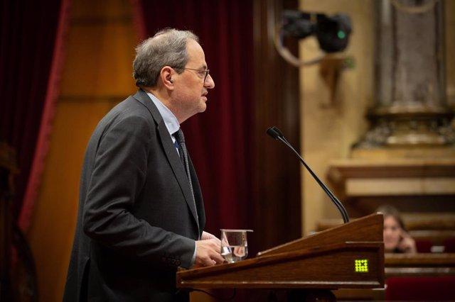 El president de la Generalitat, Quim Torra, en el ple monogràfic sobre les dones al Parlament, 17 de desembre del 2019 (Arxiu)