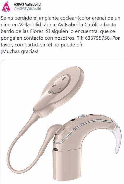 Las redes se vuelcan en la búsqueda de un implante coclear de un niño de Valladolid