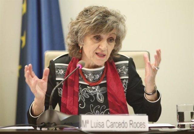 La ministra de Sanidad, Consumo y Bienestar Social en funciones, María Luisa Carcedo, inaugura la jornada organizada por CCOO sobre 'Propuestas sindicales para un sistema de dependencia al 100%' en la sede del Consejo Económico y Social, en Madrid (España