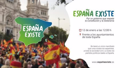 Vox modifica el cartel de apoyo a la concentración de España Existe tras incluir a Portugal como territorio español