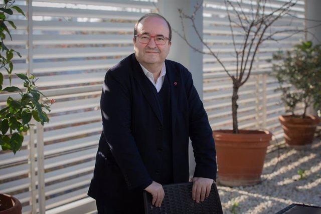 El primer secretari del PSC, Miquel Iceta, en una entrevista d'Europa Press, a Barcelona, el 9 de gener del 2020.