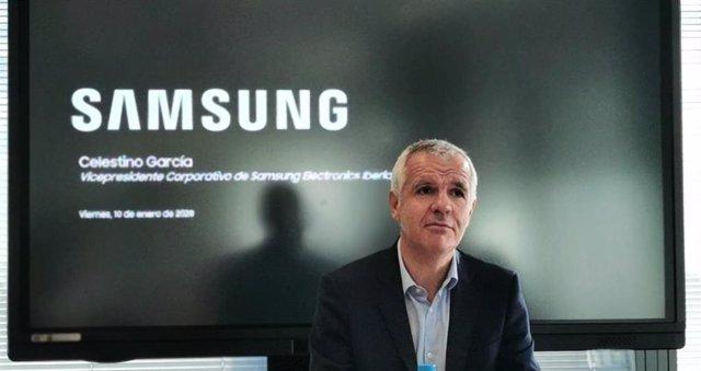 Celestino García, vicepresidente corporativo de Samsung Iberia, en la presentación en España de los smartphones Galaxy A51 y A71