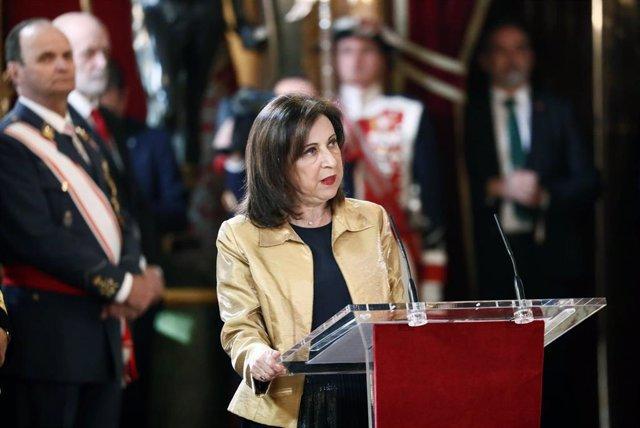 La ministra de Defensa y de Asuntos Exteriores en funciones, Margarita Robles, interviene en la celebración de la Pascua Militar de 2020 en el Palacio Real de Madrid (España) a 6 de enero de 2020.