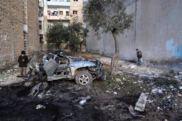 Zona bombardeada por fuerzas del régimen sirio en la localidad de Ariha, en la provincia de Idlib