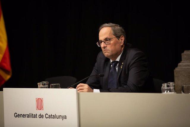 Intervenció del president Quim Torra durant l'entrega dels Premis de Turisme de Catalunya, a Barcelona, el 9 de gener del 2020