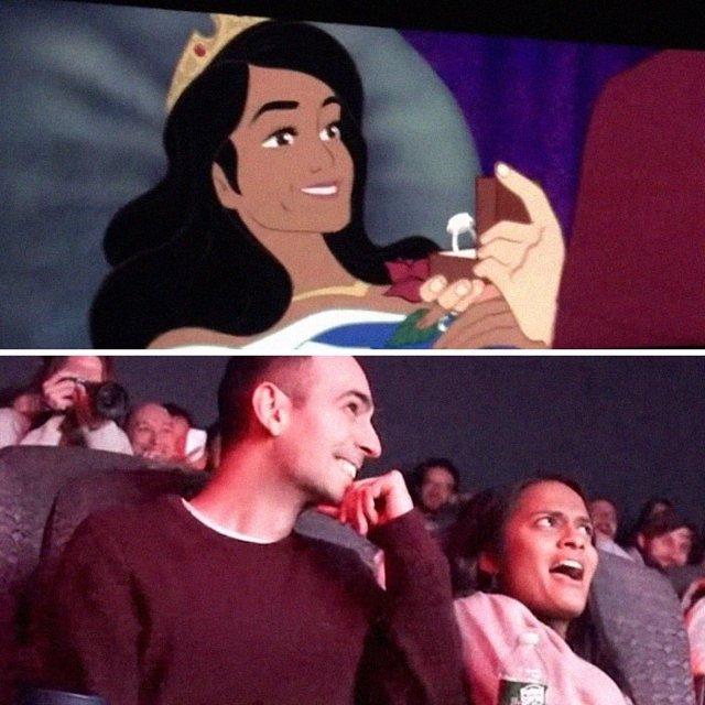 Un hombre cambia el final de 'La Bella Durmiente' de Disney para proponer matrimonio a su novia en una sala de cine