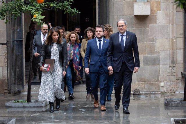 El presidente de la Generalitat, Quim Torra, al reunirse de forma extraordinaria el Consell Executiu tras la decisión del TS de no acordar cautelarísimas contra su inhabilitación por la JEC, Palau de la Generalitat, 10 de enero de 2020.