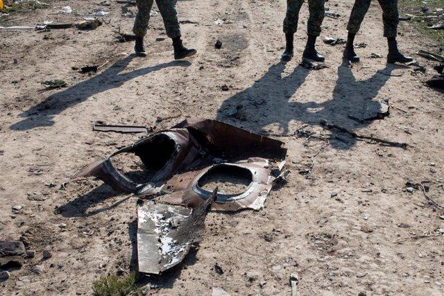 Restos del avión ucraniano estrellado en Teherán