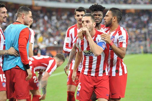 Koke celebra el seu gol a la Supercopa