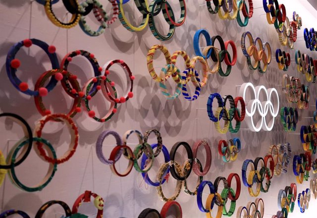 A general view of the Olympic Rings inside the Olympic Museum amid preparations for 2020 Summer Olympics.