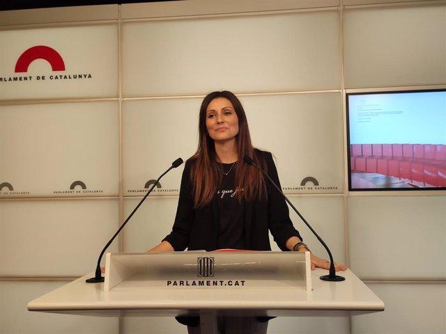 La líder de Cs a Catalunya, Lorena Roldán, en roda de premsa en el Parlament, a Barcelona, el 9 de gener de 2020.