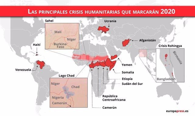 Las principales crisis humanitarias en 2020