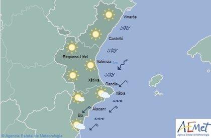 La Comunitat Valenciana vivirá un sábado soleado con máximas de 15 grados en el litoral y 10 en el interior