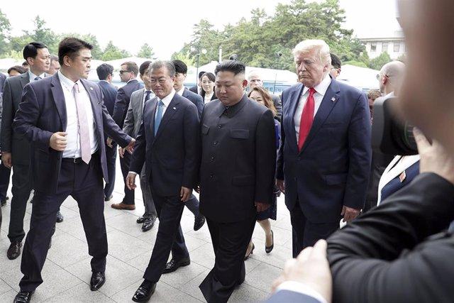El presidente de Estados Unidos, Donald Trump y el líder norcoreano, Kim Jong Un