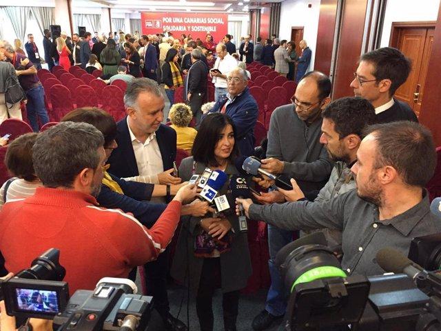 Carolina Darias atiende a los medios antes del Comité Regional del PSOE de Canarias