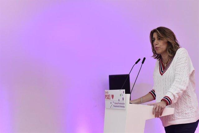La secretaria general del PSOE andaluz, Susana Díaz, este sábado