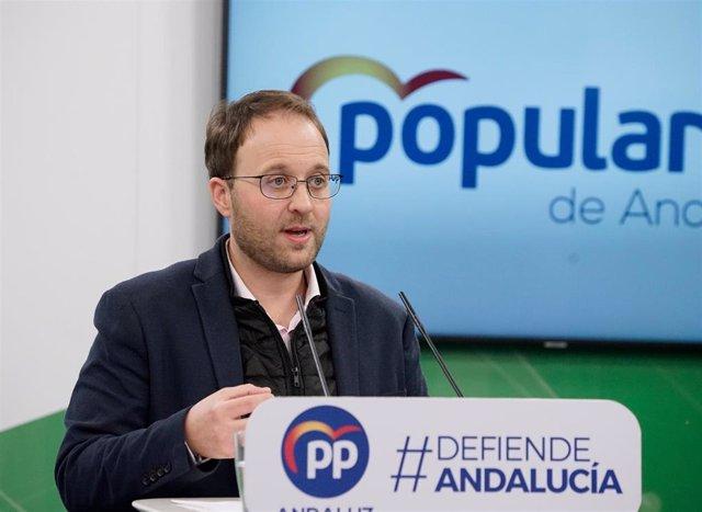 El parlamentario autonómico y portavoz de Empleo, Formación y Trabajo Autónomo del PP-A en el Parlamento, Erik Domínguez, este sábado