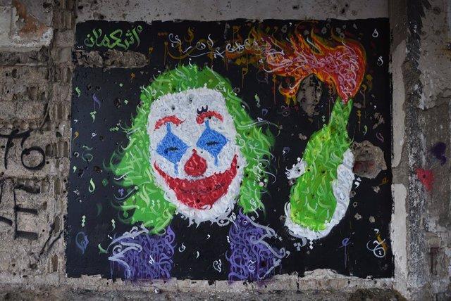 Graffiti de la película Joker en Beirut, Líbano