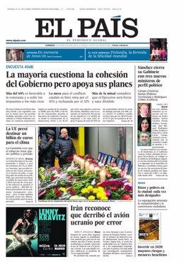 Portada del periódico El País del domingo 12 de enero de 2020.
